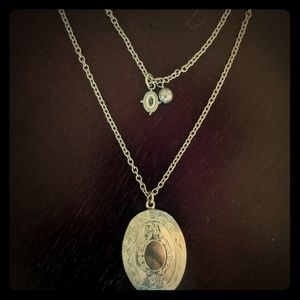 Silver necklace with locket